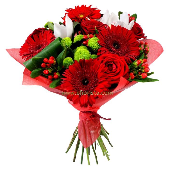 Mazzo Di Fiori Verdi.Consegna Bouquet Con Fiori Misti Rossi Mazzi Di Fiori Spedire O